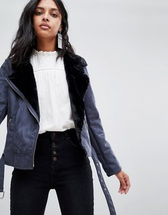 jacket with faux fur collar - Navy
