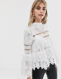 Crochet Lace Peplum Bell Sleeve Top - White