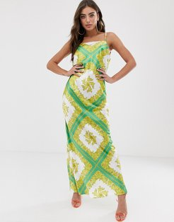 satin maxi dress with cowl back in scarf print