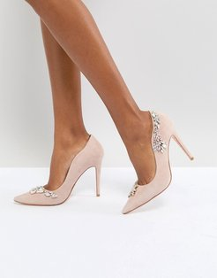 Dune London Bridal Bestowed Pink Suede Court Shoe with Irredesent Beading - Pink