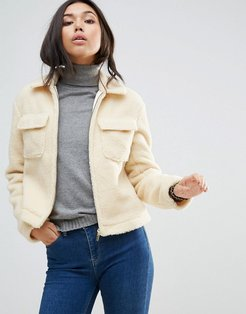Coat in Teddy Faux Fur - Cream