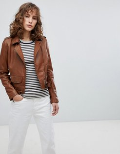Leather Biker Jacket with Small Front Pocket - Brown