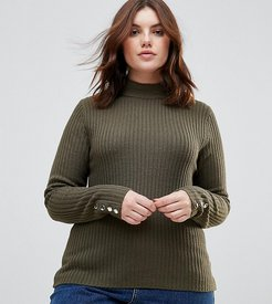 Grace Rib Turtleneck Sweater With Button Cuffs - Green