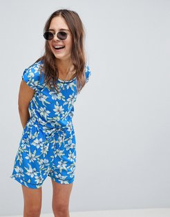 Lenore Floral Print Romper with Ladder Detail - Blue