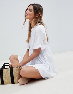 cotton slubby frill sleeve smock dress - White