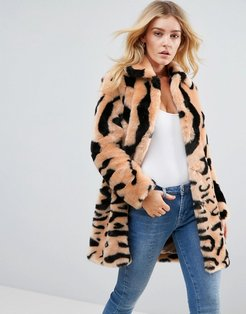 Leopard Mix Faux Fur Coat - Brown