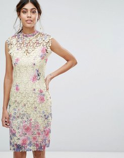 Midi Dress in Multi Crochet Lace - Yellow
