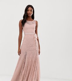 Lace Maxi Dress With Satin Belt - Pink