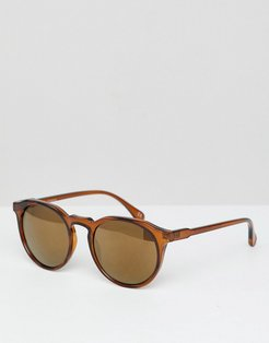 Round Sunglasses In Crystal Brown - Brown