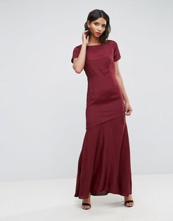 Cut Out Back Maxi Dress with Seam Detail - Multi