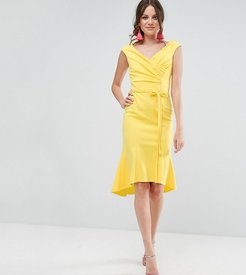 Wrap Front Peplum Midi Dress - Yellow