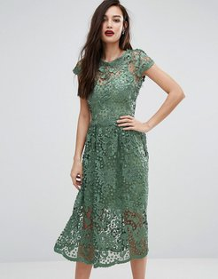Bodyfrock Lace Midi Skater Dress with Cap Sleeve - Green
