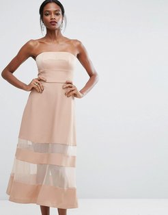 AQ/AQ Bandeau Maxi Dress With Sheer Inserts - Pink