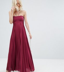 Pleated Maxi With Strappy Neck Dress - Purple