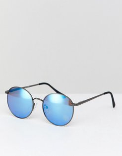 ASOS Round Sunglasses In Gunmetal With Blue Mirror Lens - Silver