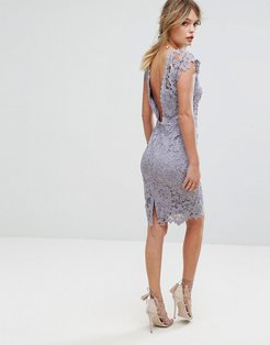 Midi Lace Dress with Scalloped Back - Gray