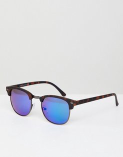 Square Sunglasses With Mirrored Lens In Tort - Blue