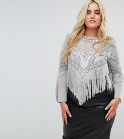 Going Out Embellished Bodysuit - Silver
