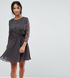 Ruched Waist Lace Midi Dress With 3/4 Length Sleeve - Gray