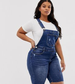 overall shorts in blue denim - Blue