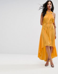 AQ/AQ Halterneck Maxi Dress With Hardware Detail - Yellow