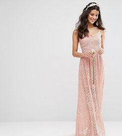 Bodyfrock Cami Strap Maxi Dress in Allover Lace - Brown