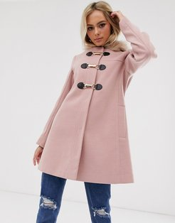 duffle with swing skirt and metal work coat in pink