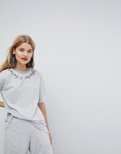 Sweat T-Shirt With Neck Embroidery - Gray