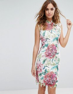 High Neck Premium Lace Midi Dress in Overscale Floral - Multi
