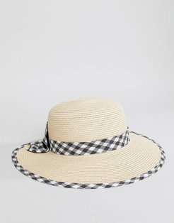 Gingham Bow Cut Out Straw Beach Hat - Stone