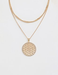 double layered disc charm necklace - Gold