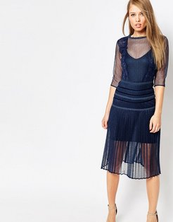 Louisa Sculpting Dress with Pleat Skirt and Lace - Navy