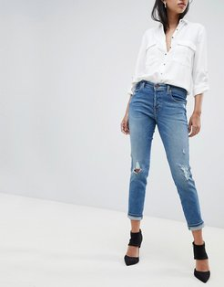 Babhila High Rise Slim Fit Jean with Abrasion Detail - Blue