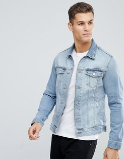Intelligence Denim Jacket With Rip Repair In Organic Cotton - Blue