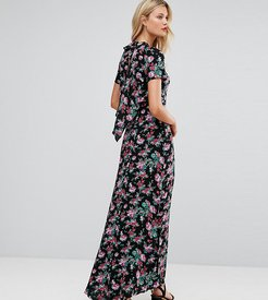 Maxi Dress with Deconstructed Back in Floral Print