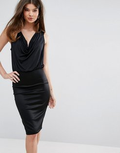 Cowl Neck Bodycon Dress - Black
