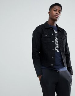 Intelligence Denim Jacket In Slim Fit - Black