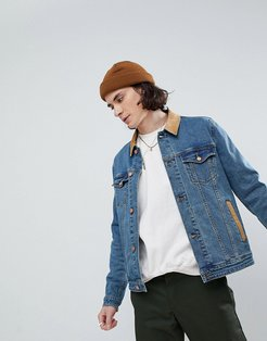 skinny denim jacket with cord collar in mid wash - Blue