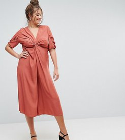 Tea Jumpsuit with Knot Front - Red