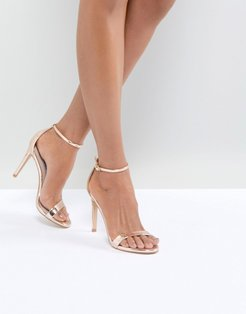 Stecy Rose Gold Heeled Sandals - Gold
