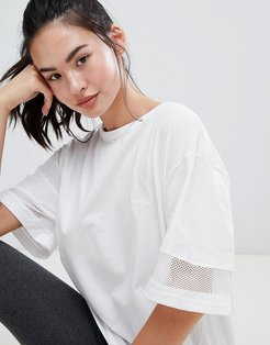 Oversized Longline T with Mesh inserts - White