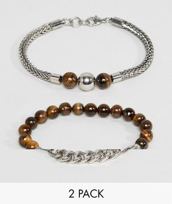 Beaded & Chain Bracelets In 2 Pack - Brown