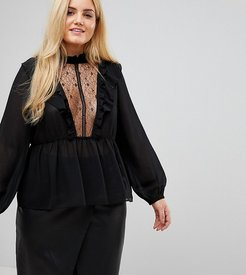 High Neck Smock Top With Lace Insert And Balloon Sleeves - Black