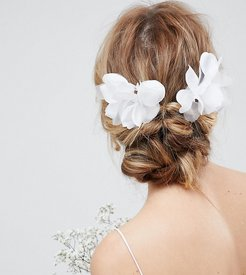 DESIGN Bridal Pack Of 2 Orchid Style Hair Clips - White