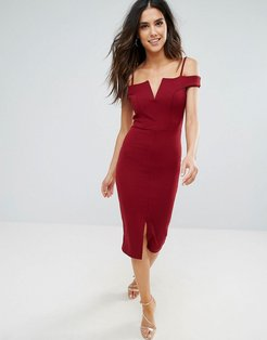 Bardot Pencil Dress With Front Split - Red