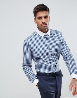 Smart Stretch Slim Shirt With Contrast Collar And Double Cuffs - Blue