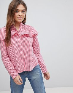 Gingham Ruffle Top - Red