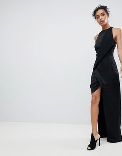 AQ/AQ Wrap Front Maxi Dress With Asymmetric Split Detail - Black