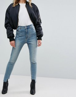 High Rise Mom Jean with Stepped Hem - Blue