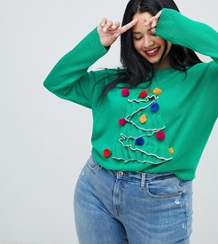 christmas tree sweater with pom poms - Green